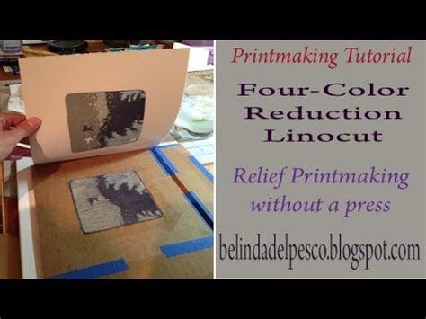 four color printmaking demonstration four color reduction linocut 5