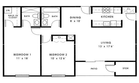 Floor Plans For Small 2 Bedroom Houses Small 2 Bedroom House Plans 1000 Sq Ft Small 2 Bedroom