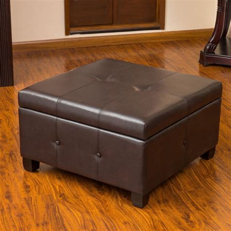 leather storage ottoman coffee table brown leather storage ottoman coffee table w