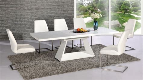 White High Gloss Glass Dining Table And 8 Chairs Extending White Dining Table And Chairs Uk