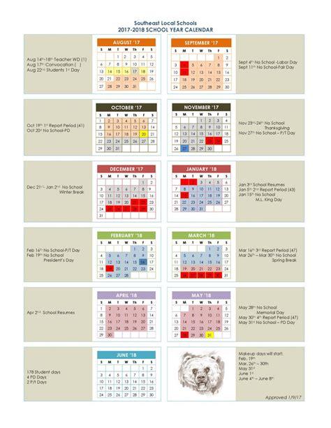 District Calendar 2017 2018 District Calendar Southeast Local Schools