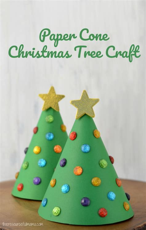 paper cone christmas tree kid craft the resourceful mama