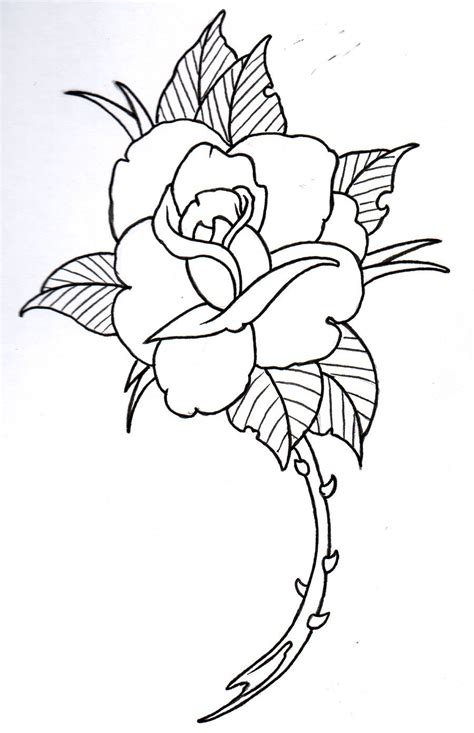 outline of a rose tattoo outline 4 by vikingtattoo on deviantart