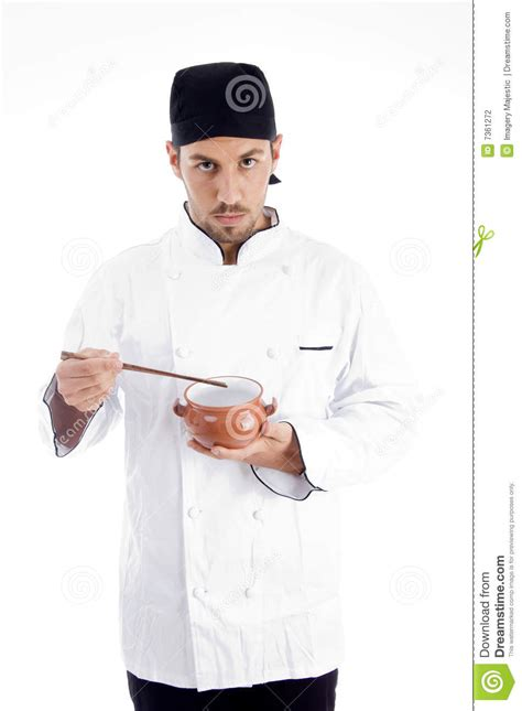 professional chef holding bowl and chopstick stock photography image 7361272