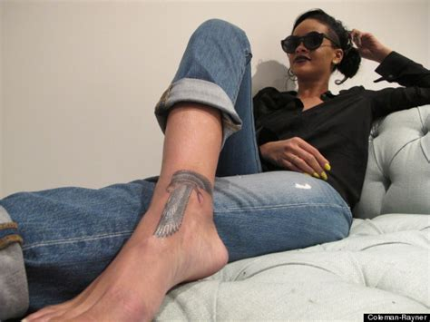 rihanna new tattoo singer shows off egyptian falcon ink