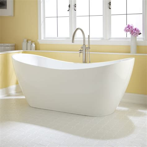 Contemporary Freestanding Bathtubs 72 Quot Sheba Acrylic Double Slipper Tub Bathroom