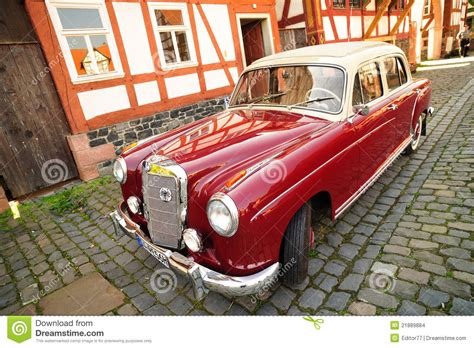 classic red mercedes vintage old model of red mercedes car editorial stock