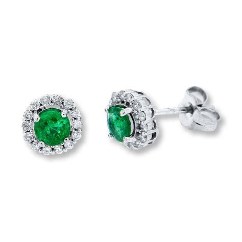 jared emerald earrings 1 4 ct tw diamonds 10k