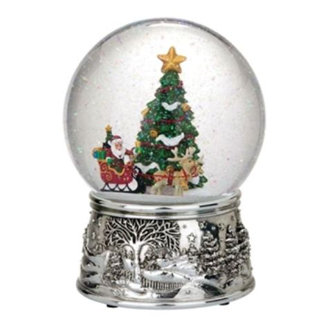 reed barton santa s sleigh snowglobe plays jingle