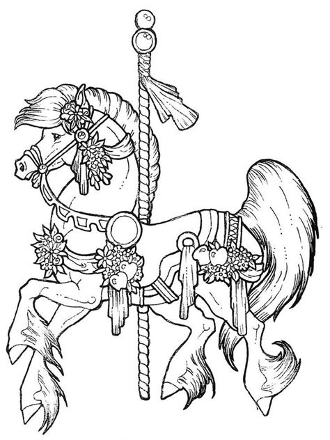 free coloring pages of carousel horses carousel coloring pages coloring home