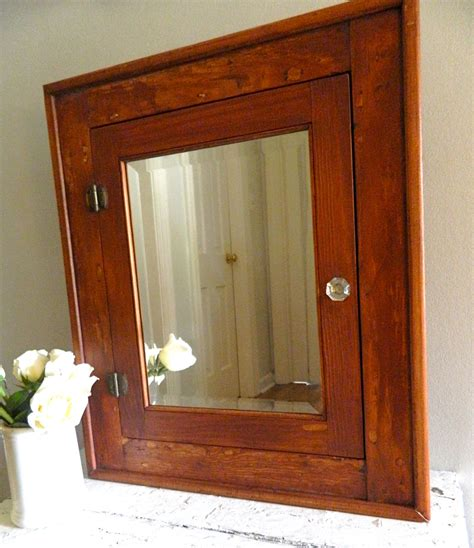 Wooden Bathroom Cabinets Vintage Medicine Cabinet Beveled Mirror Wooden