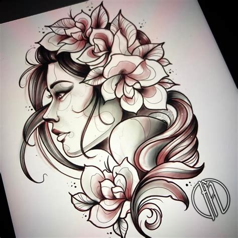 tattoo of woman portrait profile new flower