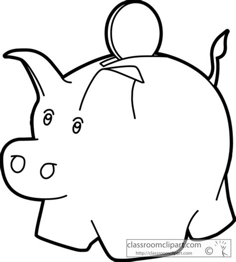 Coin Outline Clip by Piggy Bank Outline Clipart Clipart Suggest