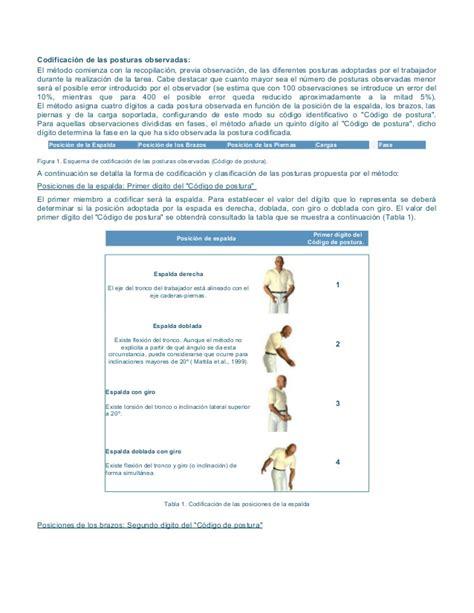 libro las posturas clave en formato owas