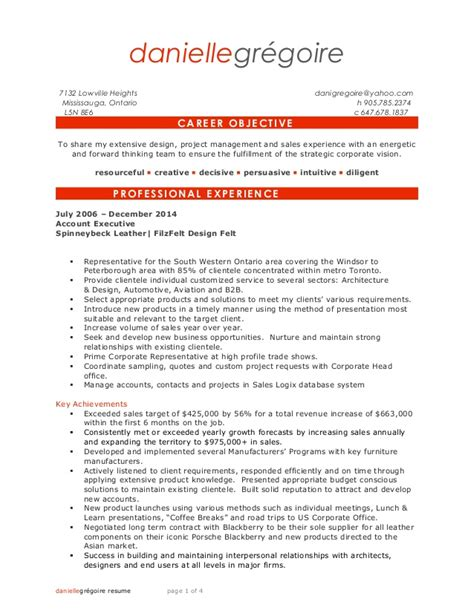 Resume Sles Business Danielle Gregoire Resume Outside Sales Business Development A D R