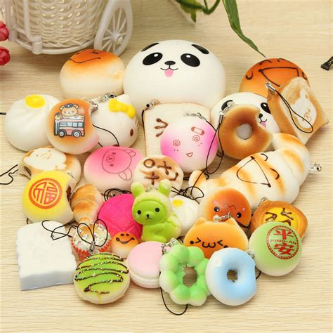 Used Home Decor Online 30pcs random squishy soft panda bread cake buns phone