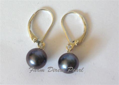 Kalung Premium Pendant 8 9mm 100 Freshwater Pearl freshwater 8mm black pearl dangle drop earrings sterling silver leverback
