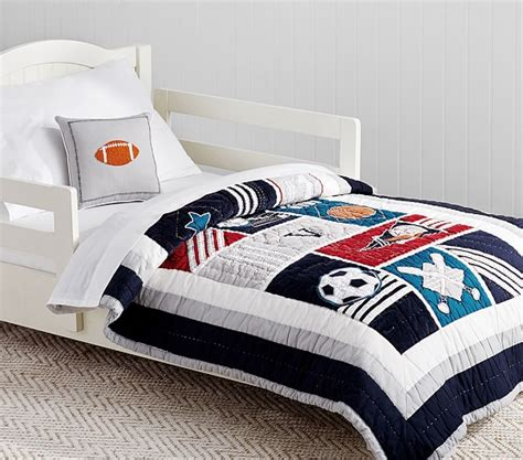 toddler sports bedding liam sports toddler bedding pottery barn kids