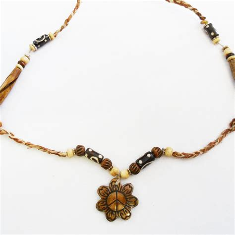 hemp bead necklace hemp and bone beaded necklace with peace flower pendant