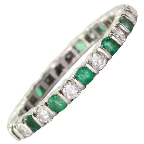 emerald platinum eternity band ring at 1stdibs