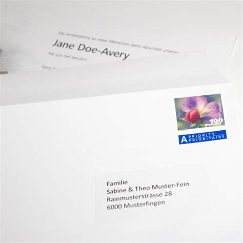 Brief In Schweiz Adressieren Adressieren Verpacken Versand Innerhalb Schweiz Trauerkarten Leidzirkulare