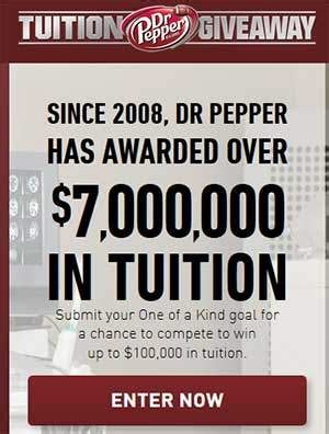 Dr Pepper Scholarship Giveaway - www drpeppertuition com 2015 dr pepper tuition giveaway