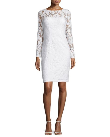 3 4 Sleeve Lace Sheath Dress sue wong 3 4 sleeve lace sheath cocktail dress neiman