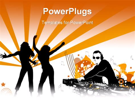 ppt themes dance powerpoint template two females figures danicing and a dj