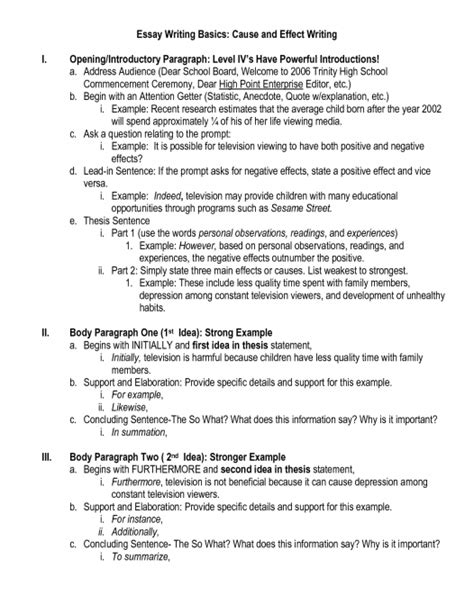 Cause And Effect Essay Outline by How To Write Cause And Effect Essay Cause And Effect Essay How To Write Cause And Effect Essays