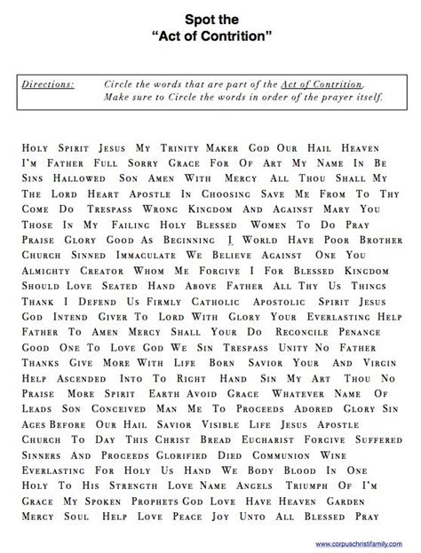 Act Of Contrition Worksheet spot the quot act of contrition quot worksheet http www