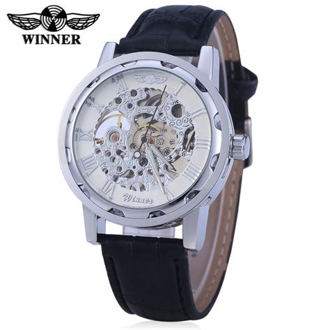 Winner W001 Hollow Mechanical With Leather Band Scale winner w001 hollow mechanical with leather band