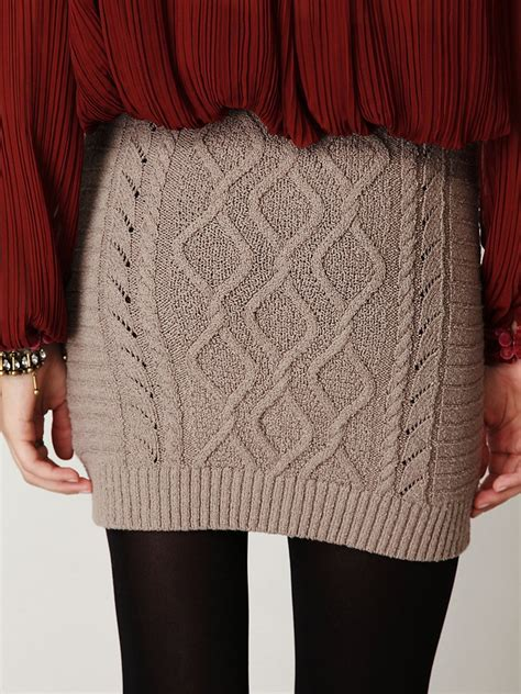 cable knit skirt free cable knit bodycon sweater skirt in gray lyst