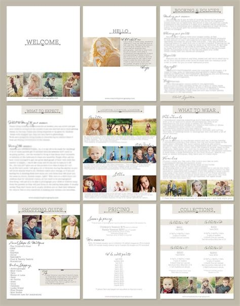 Welcome Packet On Pinterest Photography Welcome Packet Photography Packaging And Wedding Bridal Guide Template For Photographers