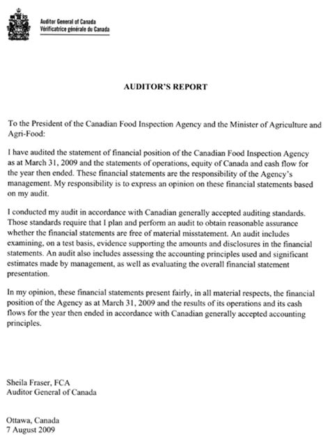 Financial Audit Management Letter Archived Canadian Food Inspection Agency 3 3