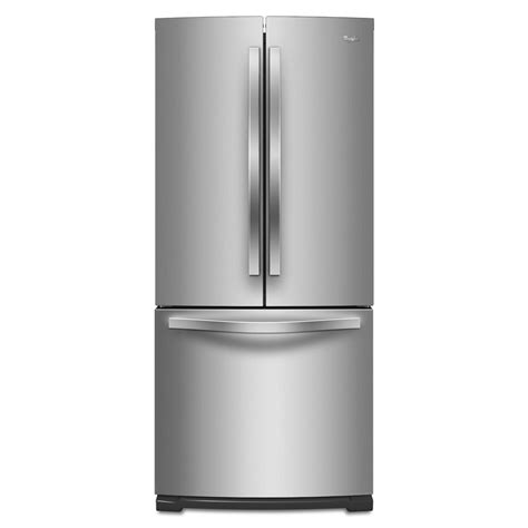 shop whirlpool 19 7 cu ft door refrigerator with maker stainless steel at lowes