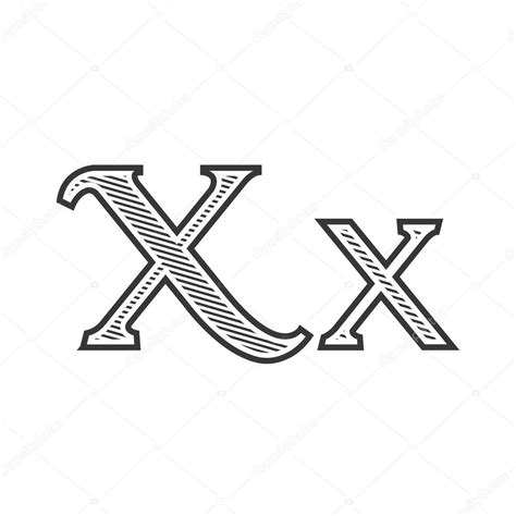 tattoo letter x font tattoo engraving letter x with shading stock vector