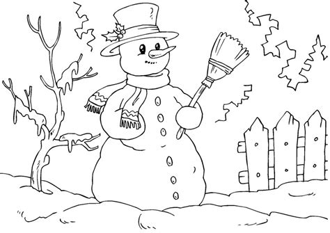 Coloring page snowman amp christmas tree pictures to pin on pinterest