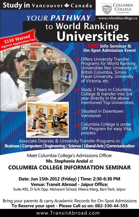 Transferring To Columbia Mba Program by Study In Columbia College Canada Universities Colleges