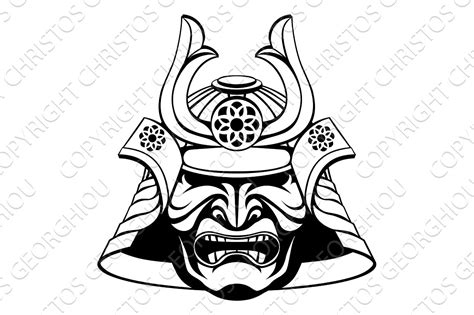 stylised samurai mask illustrations creative market