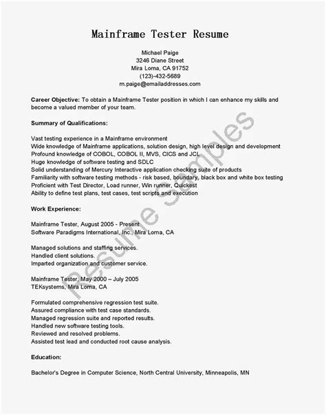 cover letter for testing resume resume sles mainframe tester resume sle