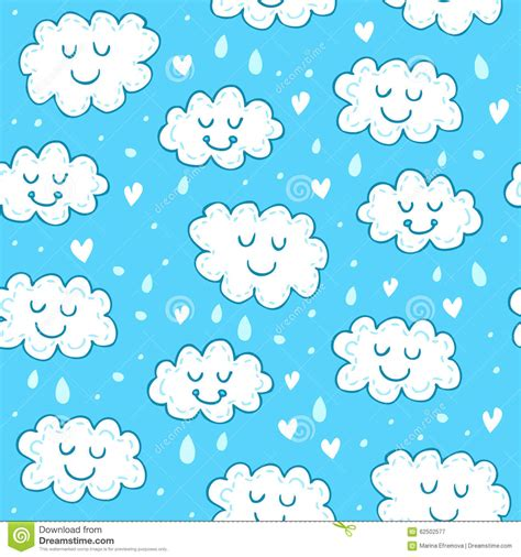 blue cute wallpaper vector blue seamless pattern with cute clouds stock vector