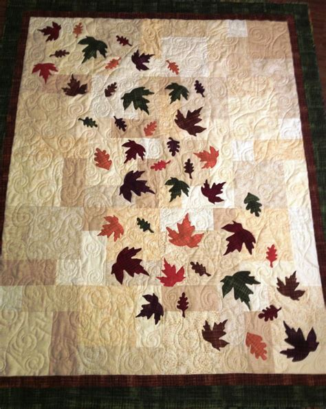 Handmade Quilt Patterns - handmade quilt fall leaves decorative autumn throw