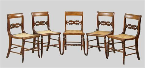 five federal style antique tiger maple chairs with