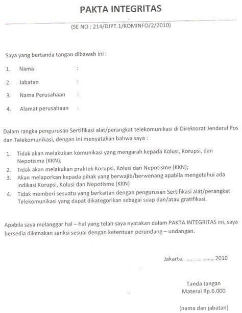 contoh surat pakta integritas narmadi