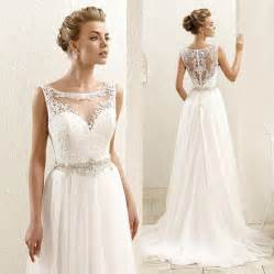 Wedding 2016 new sleeveless lace illusion neckline plus size chiffon