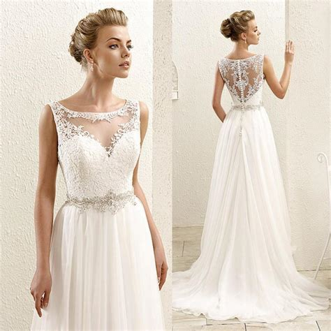 Vintage Wedding Dresses 2009 by 2016 New Sleeveless Lace Illusion Neckline Plus Size