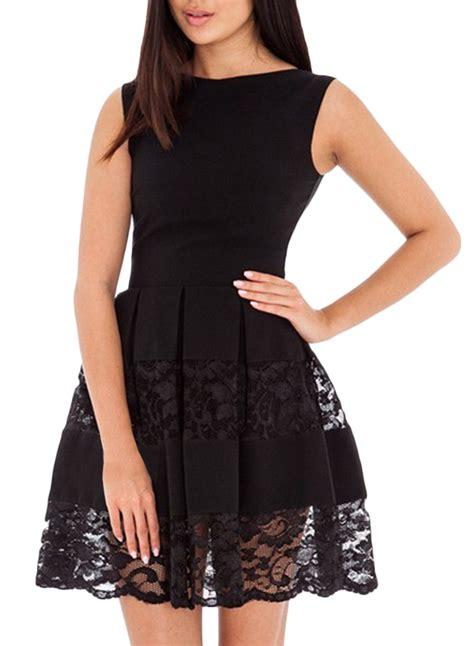 dress alin lace pi lace paneled neck pleated a line dress oasap