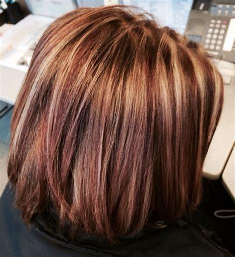 caramel lowlights in a dark brown bob red highlights caramel highlights and brown hair on pinterest