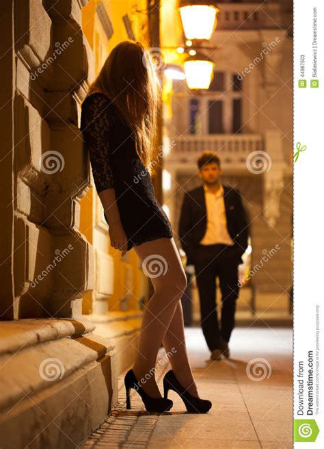 prostitute waiting  client stock photo image