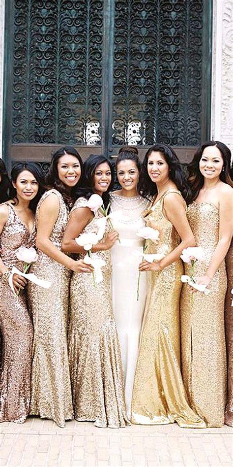 wedding trends sequined  metallic bridesmaid